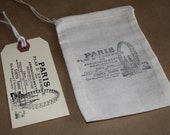 Set Of 10 French Paris Ferris Wheel Organic Muslin Bags And Paper Tags