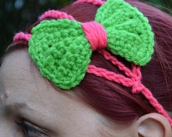 Princess bow headband in neon green and pink, bow tie crochet headband, Three strand crochet hairband