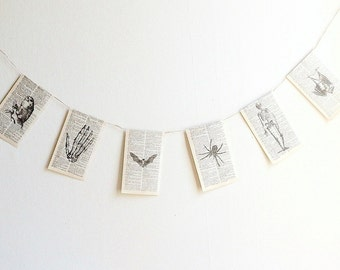 Halloween paper garland, dictionary paper print halloween banner, owl, bat, skeleton, spider handmade black white party banner