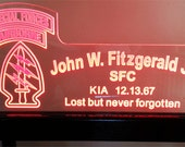 MEDIUM Custom Acrylic Edge Lit LED Sign for Military Memorial, Police, Fire, Sheriff, and More!