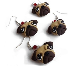 pug dog with handmade earrings polymer clay