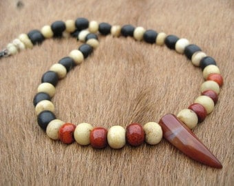 Mens tribal necklace, red agate tooth shaped pendant, bone and wood beads, handmade short beaded necklace, natural materials, earthy