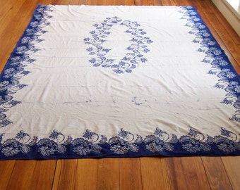 INDONESIAN INDIGO FABRIC - Hand Printed Heavy Cotton Material with Blue Floral Border on 3 Sides