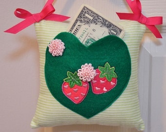 SALE Tooth Fairy Pillow Pink Strawberries Pink Flowers Pocket Tooth and Money