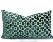 Robert Allen - Decorative Pillow Cushion Covers - Accent Pillow - Throw Pillow - Velvet Geo Turquoise - Teal, Beige,Tan