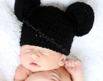 Mickey Mouse Inspired Hat - Crochet Newborn Beanie Boy Girl Costume Preemie Halloween  Photo Prop Christmas Gift Winter Outfit