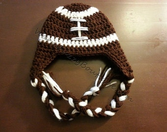 Instant Download PDF Crochet Pattern - No. 26 Football Hat Earflaps - 6 Sizes - Baby to Adult