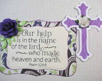 1 Crosses and 1 Bible Verse Psalm 124.8 Embellishments, Scrapbook, Cards, Christian