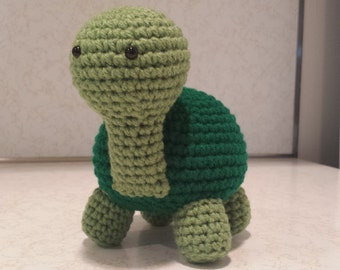 Turtle- Crochet Amigurumi Stuffed Animal Plush- Green