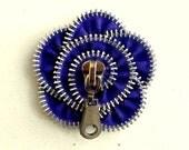 Fabric brooch, creative jewelry, zipper brooch, blue flower,  Zipper Pin. 2.8 in/ 7 cm,eco friendly, recycled jewelry