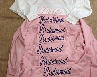 Set of 4 Monogrammed Oversized Bridesmaid Shirts with front pocket monogram or a back title embroidery