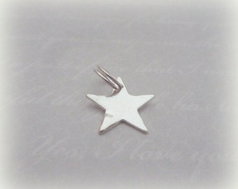 Silver Star Charm - Sterling Solid Silver 925 Star Charm with Split Ring Handmade