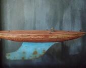 Vintage Toy Pond Boat - Wood and Metal