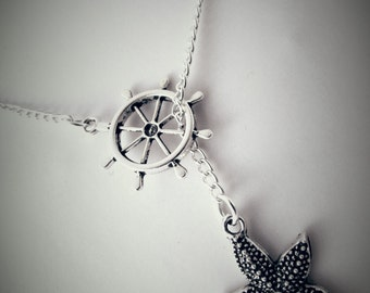 Rudder and Starfish Lariat Necklace