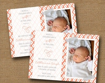 Ikat Birth Announcement | Modern Birth Announcement Photo | Religious Christian New Baby Announcement | Children are a Gift | DIY PRINTABLE