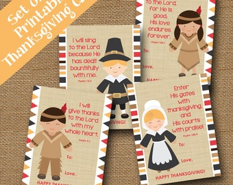 Thanksgiving Scripture Cards for Kids | Pilgrim and Indian Printable Cards | Classroom Bible Verse Cards for Children | DIY PRINTABLE