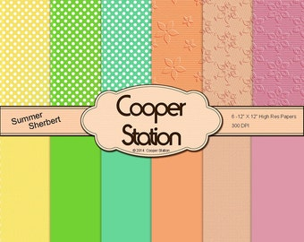 Digital Printable Paper Pack - Summer Sherbet Theme DP028