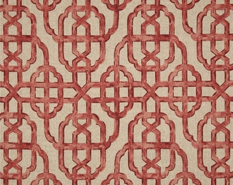 red curtains geometric