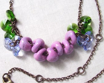 Hydranga Necklace with Lampwork Glass, Crystal and Natural Brass Chain