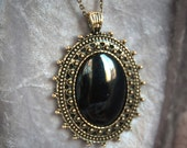 "Black Oval Pendant with Copper Frame on 18"" copper chain"