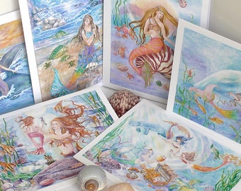 Mermaid Cards with Envelope Seals,Folded 5x7 inches( 6 different mermaid designs), Pack of 6 (5x7inches cards), Mermaid Fantasy Cards