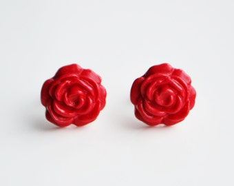 Rose Stud Earrings, Red or Purple, Fimo, Polymer Clay