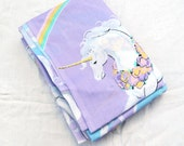 Purple Unicorns and Rainbows Twin Fitted  and Flat Sheet Vintage 1980's Fantasy Bedding Fabric Flowers