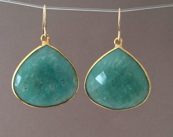 Teal Green Onyx Teardrop Earrings