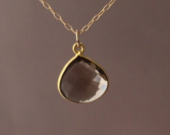 Gold Smoky Quartz Teardrop Necklace Long or Short