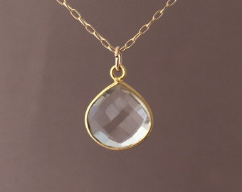 SMALL Gold Clear Quartz Teardrop Necklace Long or Short