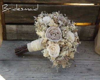 Bridesmaid Bouquet Rustic Woodland Twig and Sola Flower with Champagne Accents Made to Order