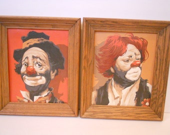 Vintage Paint By Number Clown Picture Set of Two Oak Frames Wood Wall Hanging