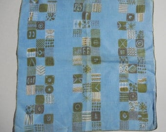 Vintage Mid Century Handkerchief Jeanne Miller Vintage Hankie Starburst Mid Century Retro Atomic Blue Bridal Something Blue