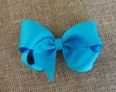 Turquoise Twisted Boutique Bow - 4 inch Bow - Baby Hairbow - Girls Hairbow