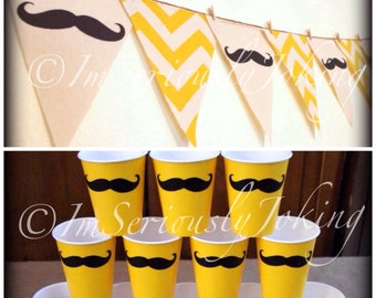 Yellow Chevron print Mustache Banner and 12 Cups Party Banner-Little Man Party-Mustache party-Yellow Chevron-Yellow Cups-Mustache Cups