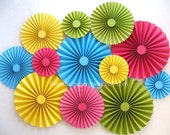 Set of 12 Paper Fans | Rainbow Party Backdrop | Rainbow Paper Rosettes | Unicorn Party | Art Birthday Party | Candy Backdrop
