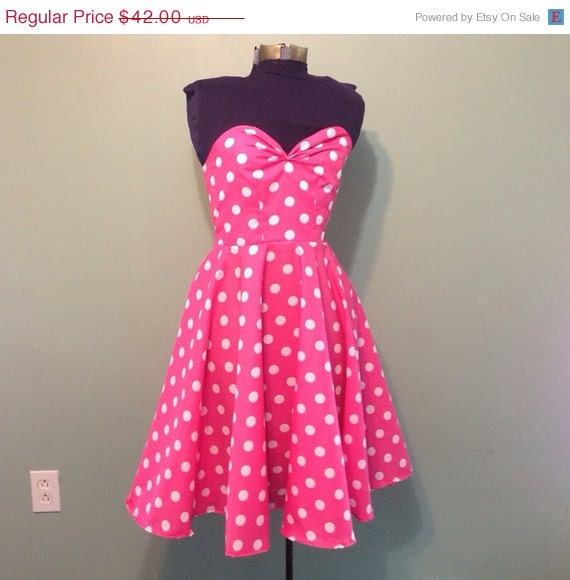 Womens Pink and White Polka Dot Dress Vintage by offbeatvintage