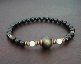 Women's Protection & Positivity Mala Bracelet - Onyx, Obsidian, Moonstone Mala Bracelet - Yoga, Buddhist, Meditation, Prayer Beads, Jewelry