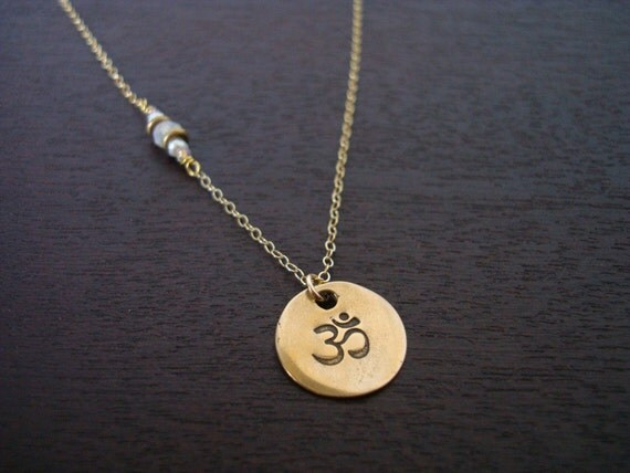 Womens Moonstone Pearl Om Necklace // Plain Necklace Or Choose