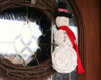 Burlap Snowman Wreath Attachment with Red Felt Scarf, Most Popular Wreath, Quick Ship