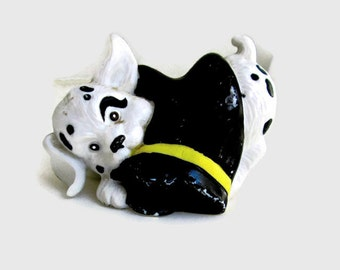 Vintage Dalmatian Puppy Enesco Figurine Playing with a Black Boot 1991