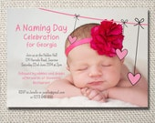 Pink hearts naming day ceremony printable invite - with photo