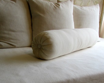 8 x 30 inch bolster pillow in ivory cotton duck