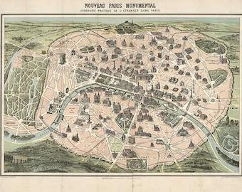 """Paris 1878. Antique Map of Paris, France """"Nouveau Paris Monumental"""" - Printable Map - Instant Digital Download"""