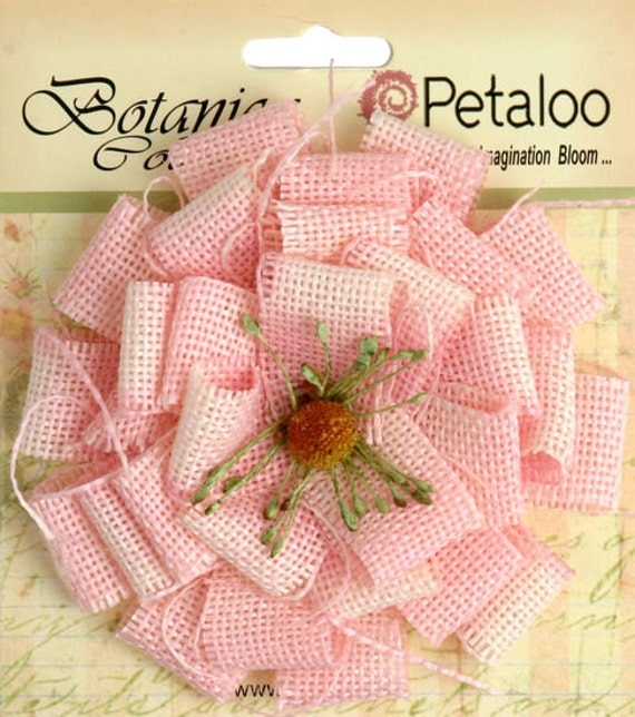 30% OFF TODAY ONLY - Petaloo - Large Burlap Blossom - Pink (1202-211)
