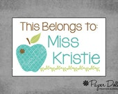Book Labels - This Belongs To Labels - Moroccan Apple - Teacher Gift - Peel and Stick