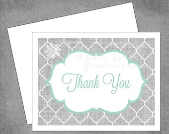 Moroccan Scallop Note Cards - Grey and Berrylicious - Personalized Note Cards - Flat or Folded