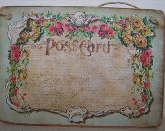 Victorian style cherubs & roses swag, vintage postcard image on natural wooden tag -gift ideas