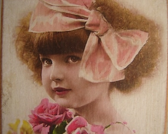 Victorian girl with pink bow, tinted photo image on shabby chic wooden tag with string hanger