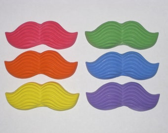 Mustache Shaped Sidewalk Chalk - Set Of 6 - You Choose The Colors